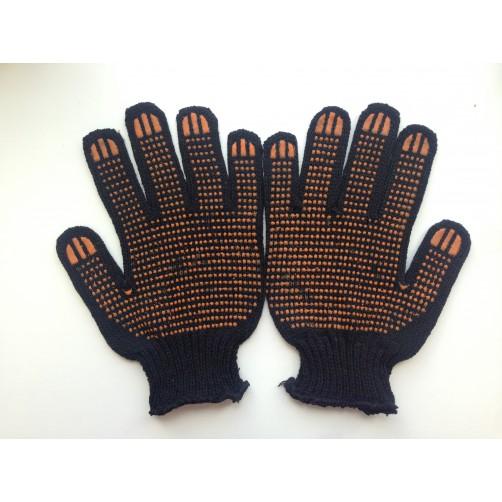 Перчатки хб Прораб с ПВХ, черные